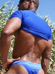 Alex Castro shows off his jock butt outdoors