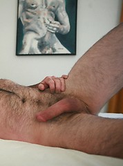 Naked hairy mature masturbates his cock