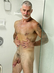 Silver dad jacking off dick