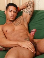 Hot latino macho shows his strong body and strokes hard dick