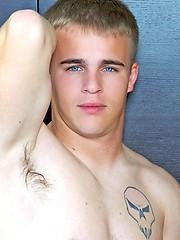 Sweet blue-eyed boy with white hair