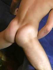 Wanking off boy shows his firm buns and itchy hole