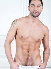 Adrian long shoots cum all over Dominic Pacificos sexy bubble butt