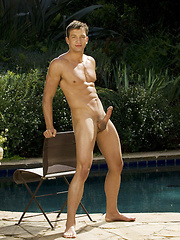 Naked college stud posing after lessons