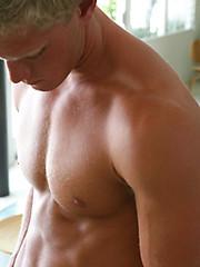 Blonde jock gets naked