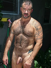 Spanish delight Steven shows off his sexy, hairy body in a romantic photoshoot