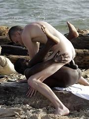 Beach-Time Fun For Mike James As He Sucks & Fucks Devon LeBron's Mammoth Black Dick!